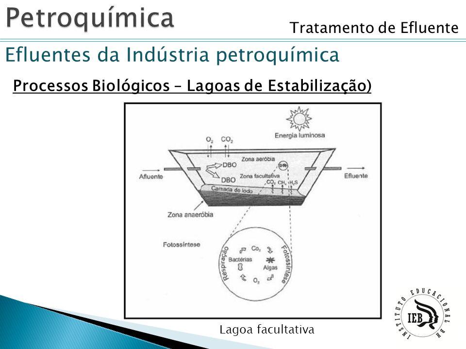 Tratamento de Efluente Efluentes da Indústria petroquímica Processos Biológicos – Lagoas de Estabilização) Lagoa facultativa