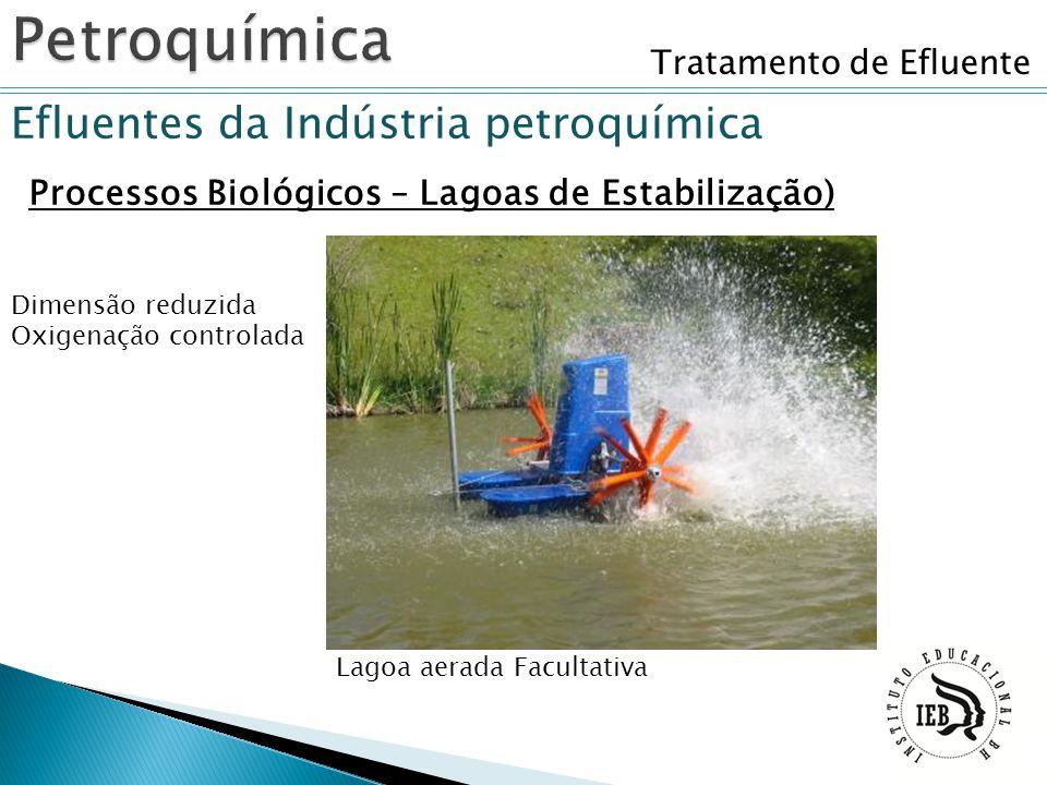 Tratamento de Efluente Efluentes da Indústria petroquímica Processos Biológicos – Lagoas de Estabilização) Lagoa aerada Facultativa Dimensão reduzida