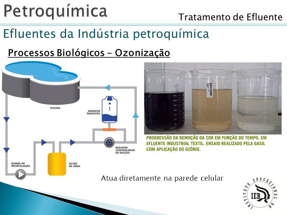 Tratamento de Efluente Efluentes da Indústria petroquímica Processos Biológicos – Ozonização Atua diretamente na parede celular