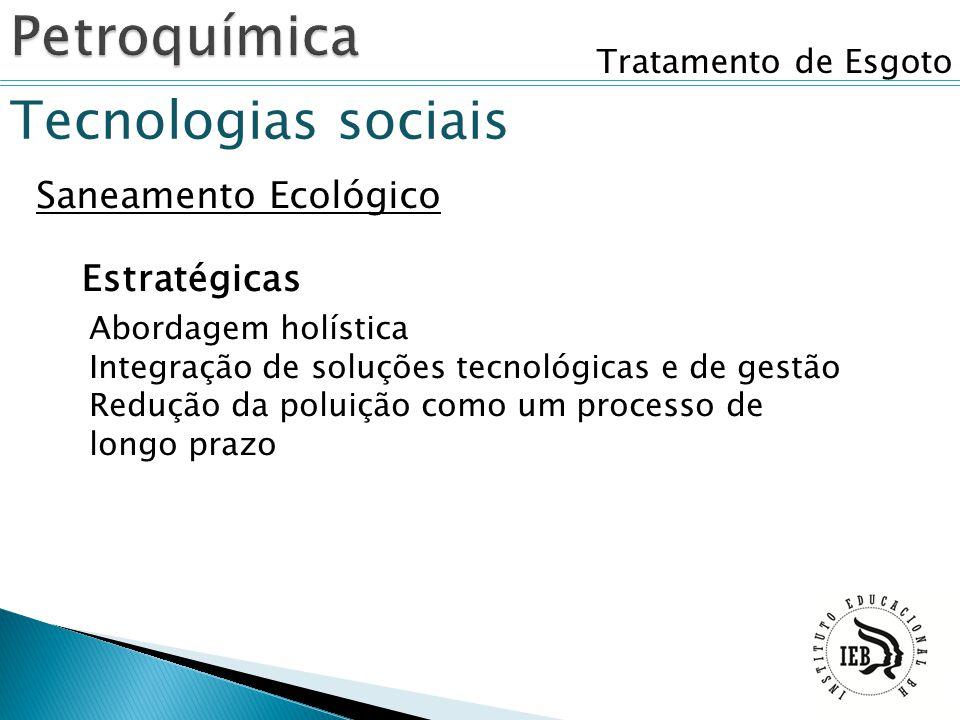 Tratamento de Esgoto Tecnologias sociais Saneamento Ecológico Abordagem holística Integração de soluções tecnológicas e de gestão Redução da poluição