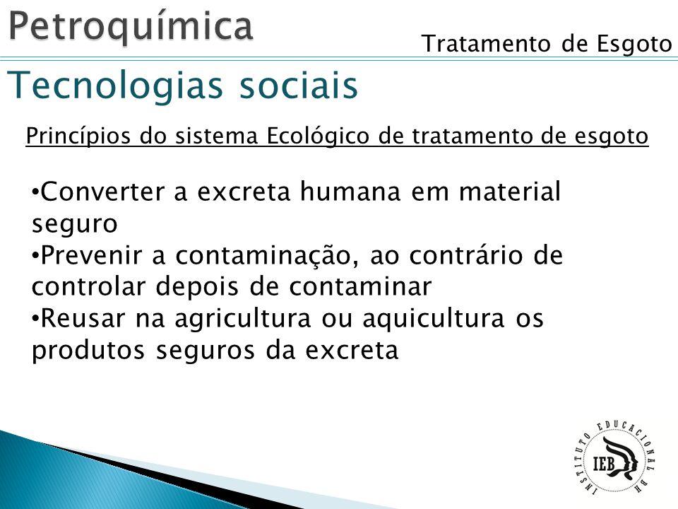 Tratamento de Esgoto Princípios do sistema Ecológico de tratamento de esgoto Converter a excreta humana em material seguro Prevenir a contaminação, ao