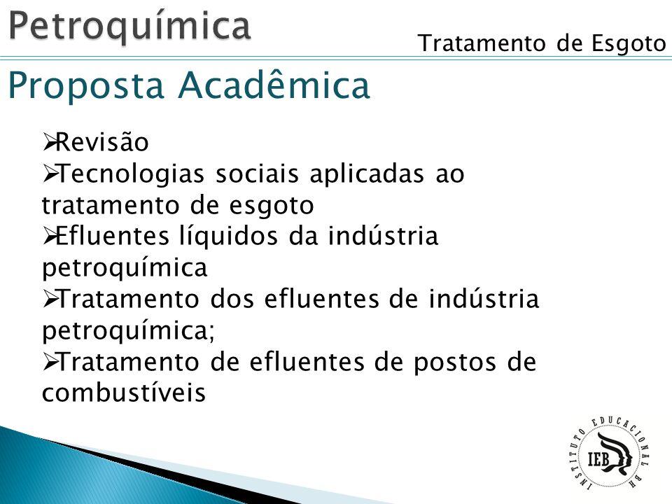 Tratamento de Esgoto Proposta Acadêmica  Revisão  Tecnologias sociais aplicadas ao tratamento de esgoto  Efluentes líquidos da indústria petroquími
