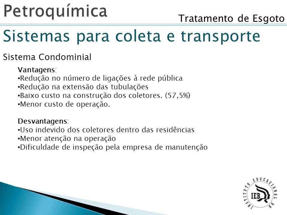 Tratamento de Esgoto Sistemas para coleta e transporte Sistema Condominial Vantagens: Redução no número de ligações à rede pública Redução na extensão