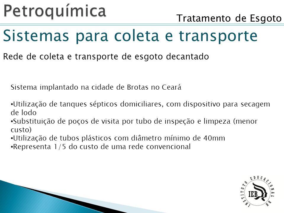 Tratamento de Esgoto Sistemas para coleta e transporte Rede de coleta e transporte de esgoto decantado Sistema implantado na cidade de Brotas no Ceará