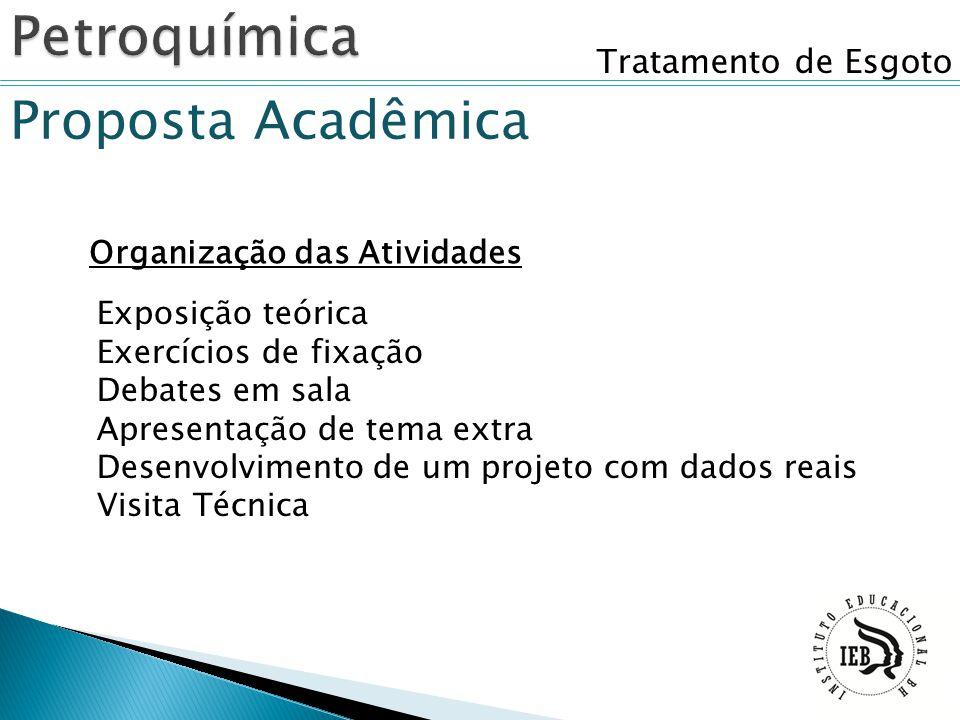 Tratamento de Esgoto Organização das Atividades Proposta Acadêmica Exposição teórica Exercícios de fixação Debates em sala Apresentação de tema extra