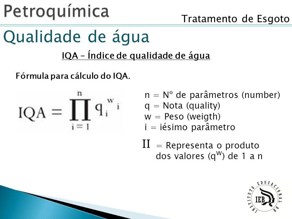 Tratamento de Esgoto Qualidade de água IQA – Índice de qualidade de água Fórmula para cálculo do IQA. n = Nº de parâmetros (number) q = Nota (quality)