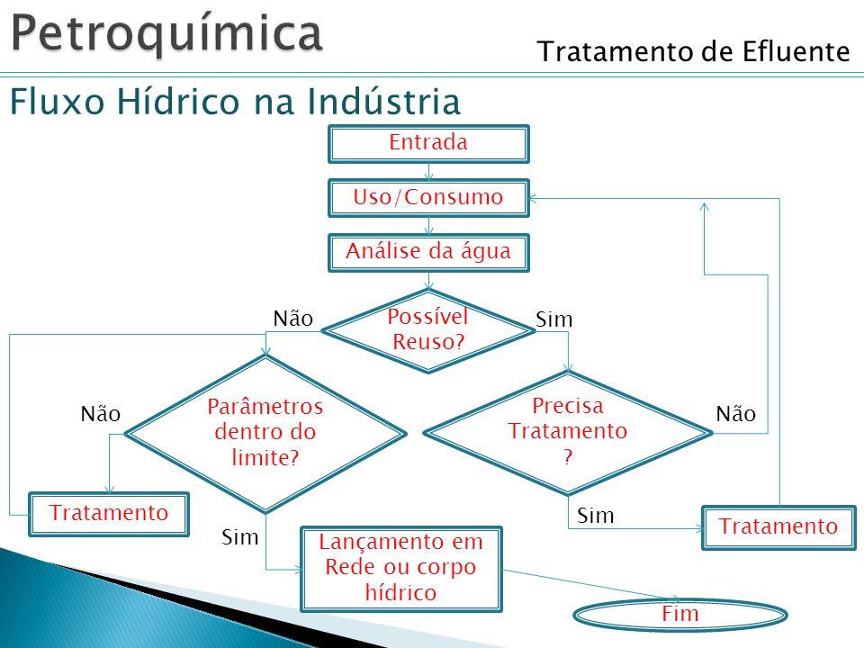 Tratamento de Efluente Fluxo Hídrico na Indústria Entrada Uso/Consumo Tratamento Possível Reuso? Fim Sim Não Parâmetros dentro do limite? Tratamento L