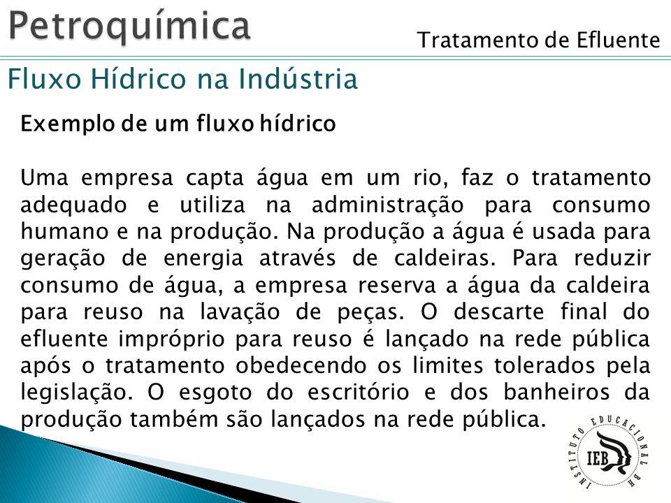 Tratamento de Efluente Fluxo Hídrico na Indústria Exemplo de um fluxo hídrico Uma empresa capta água em um rio, faz o tratamento adequado e utiliza na
