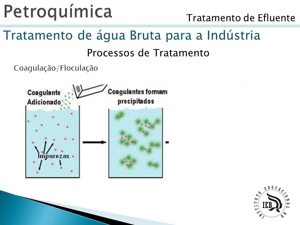 Tratamento de Efluente Tratamento de água Bruta para a Indústria Coagulação/Floculação Processos de Tratamento