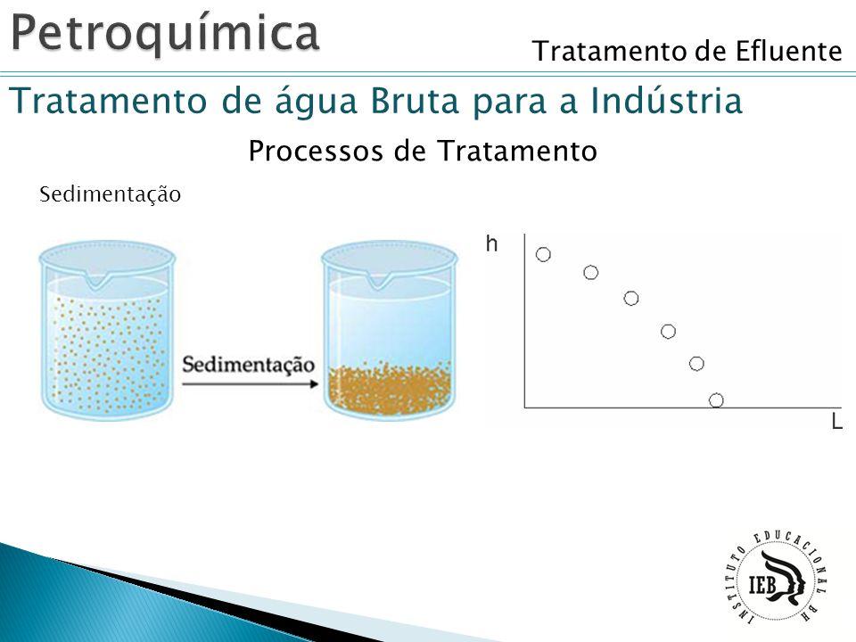 Tratamento de Efluente Tratamento de água Bruta para a Indústria Sedimentação Processos de Tratamento