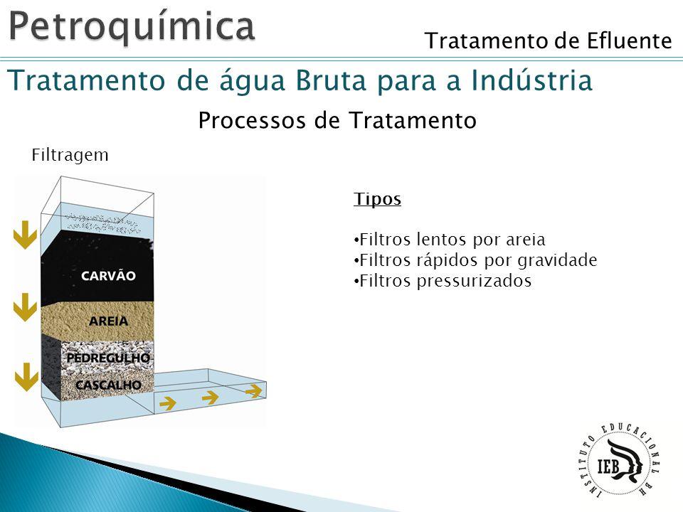 Tratamento de Efluente Tratamento de água Bruta para a Indústria Filtragem Processos de Tratamento Tipos Filtros lentos por areia Filtros rápidos por