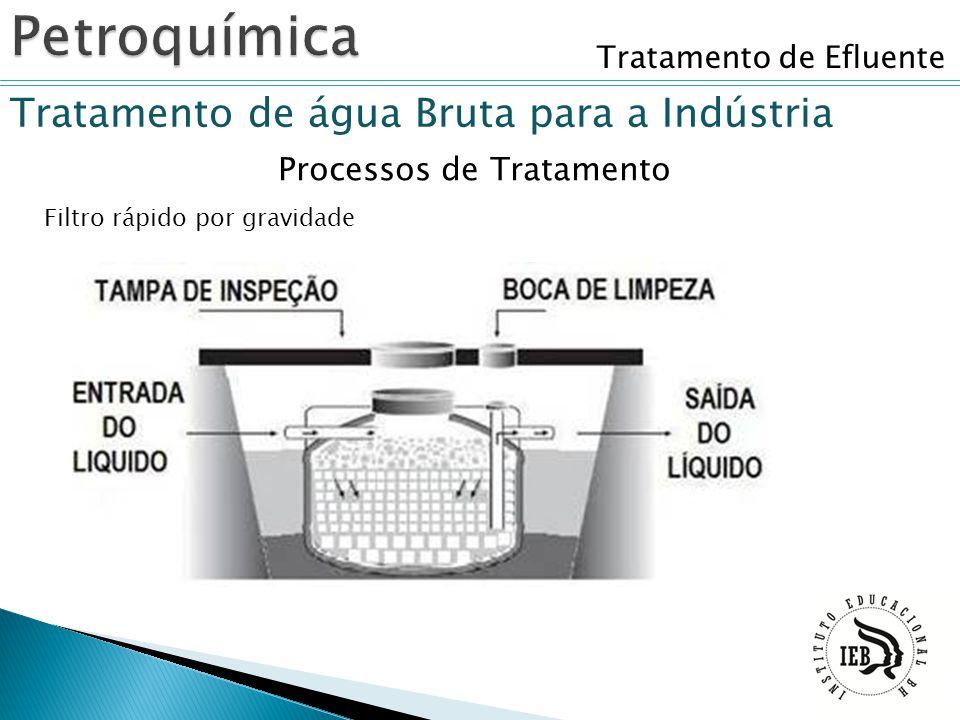 Tratamento de Efluente Tratamento de água Bruta para a Indústria Filtro rápido por gravidade Processos de Tratamento