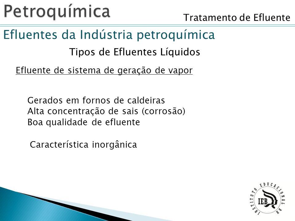 Tratamento de Efluente Efluentes da Indústria petroquímica Tipos de Efluentes Líquidos Efluente de sistema de geração de vapor Gerados em fornos de ca