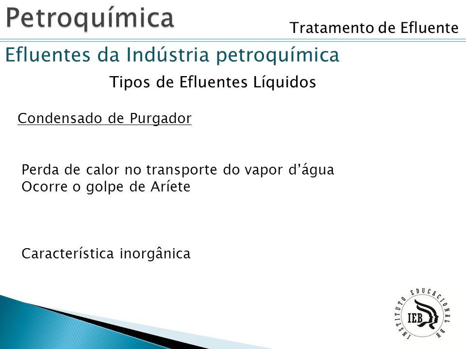Tratamento de Efluente Efluentes da Indústria petroquímica Tipos de Efluentes Líquidos Condensado de Purgador Perda de calor no transporte do vapor d'