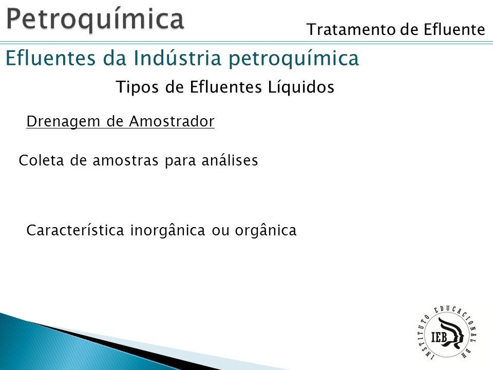 Tratamento de Efluente Efluentes da Indústria petroquímica Tipos de Efluentes Líquidos Drenagem de Amostrador Coleta de amostras para análises Caracte