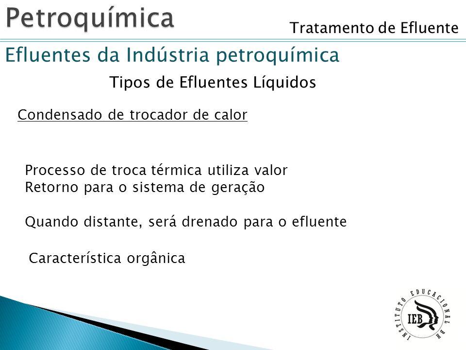 Tratamento de Efluente Efluentes da Indústria petroquímica Tipos de Efluentes Líquidos Condensado de trocador de calor Processo de troca térmica utili
