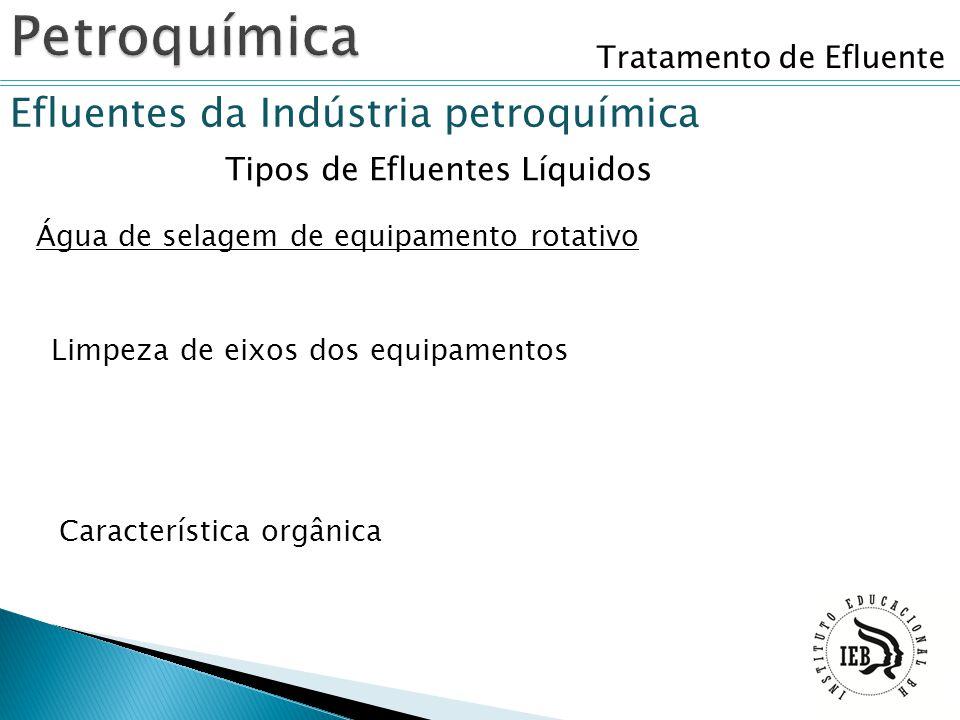 Tratamento de Efluente Efluentes da Indústria petroquímica Tipos de Efluentes Líquidos Água de selagem de equipamento rotativo Limpeza de eixos dos eq