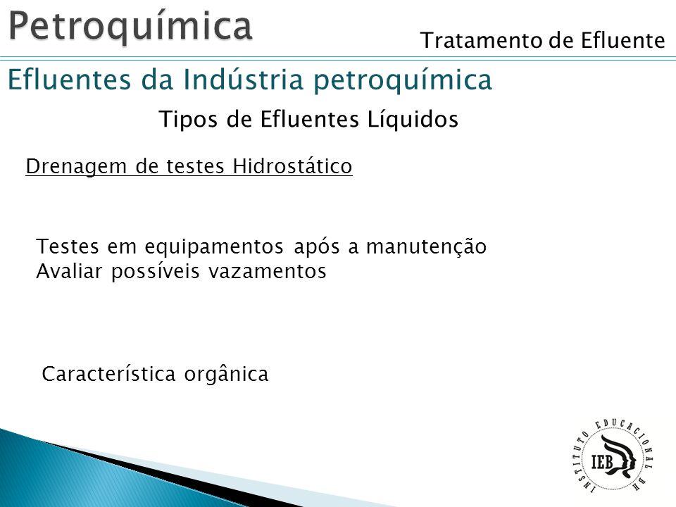 Tratamento de Efluente Efluentes da Indústria petroquímica Tipos de Efluentes Líquidos Drenagem de testes Hidrostático Testes em equipamentos após a m