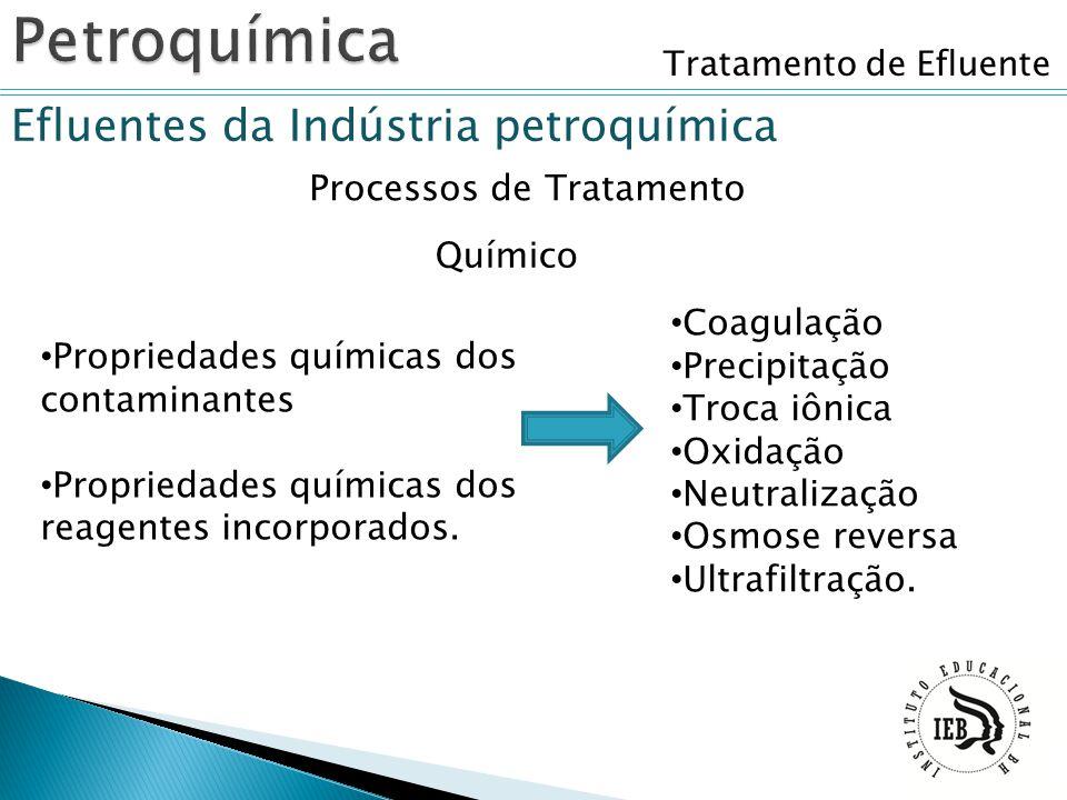 Tratamento de Efluente Efluentes da Indústria petroquímica Processos de Tratamento Químico Propriedades químicas dos contaminantes Propriedades químic