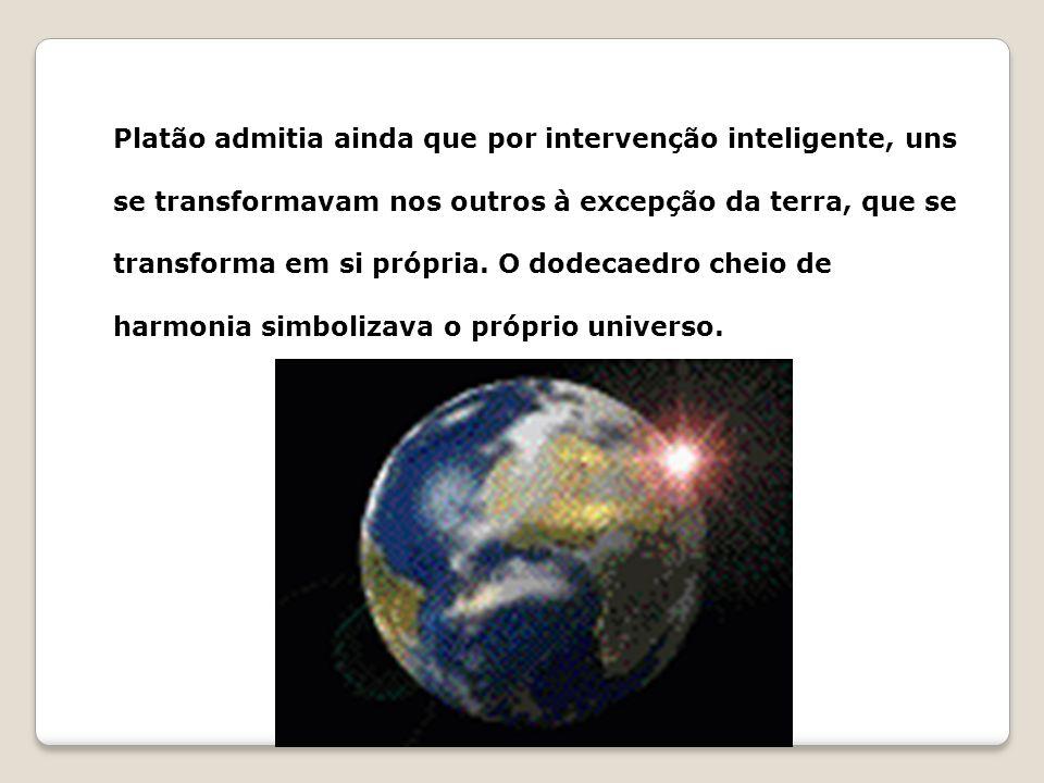 Platão admitia ainda que por intervenção inteligente, uns se transformavam nos outros à excepção da terra, que se transforma em si própria. O dodecaed