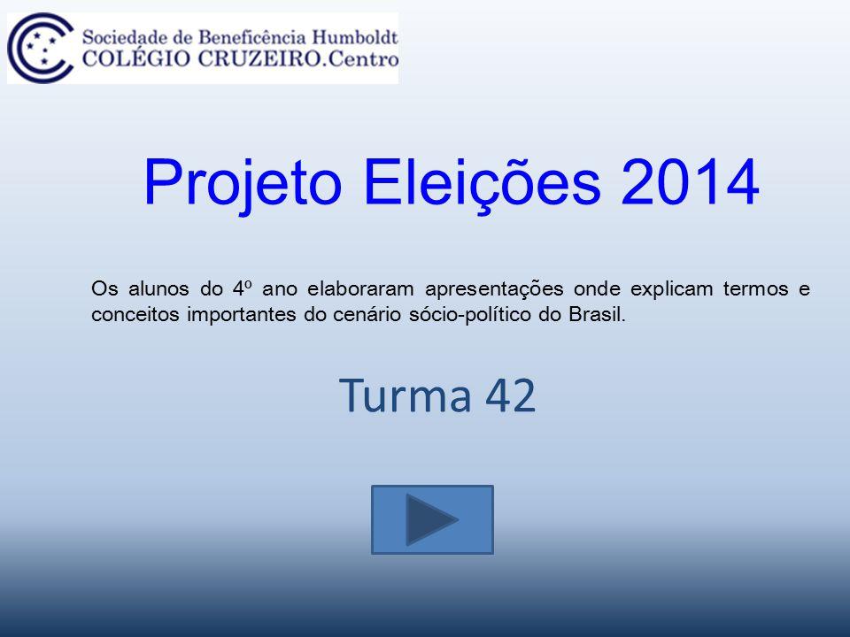 Turma 42 Projeto Eleições 2014 Os alunos do 4º ano elaboraram apresentações onde explicam termos e conceitos importantes do cenário sócio-político do