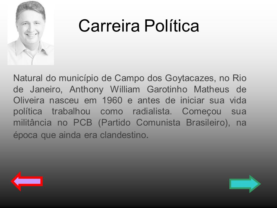Carreira Política Natural do município de Campo dos Goytacazes, no Rio de Janeiro, Anthony William Garotinho Matheus de Oliveira nasceu em 1960 e ante