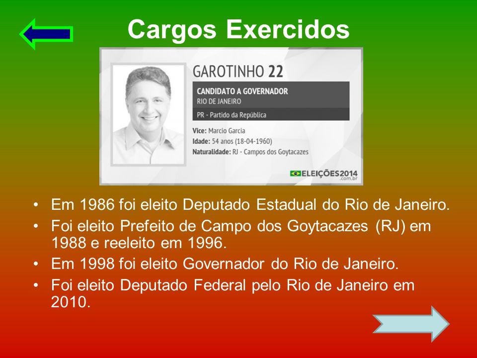 Cargos Exercidos Em 1986 foi eleito Deputado Estadual do Rio de Janeiro. Foi eleito Prefeito de Campo dos Goytacazes (RJ) em 1988 e reeleito em 1996.