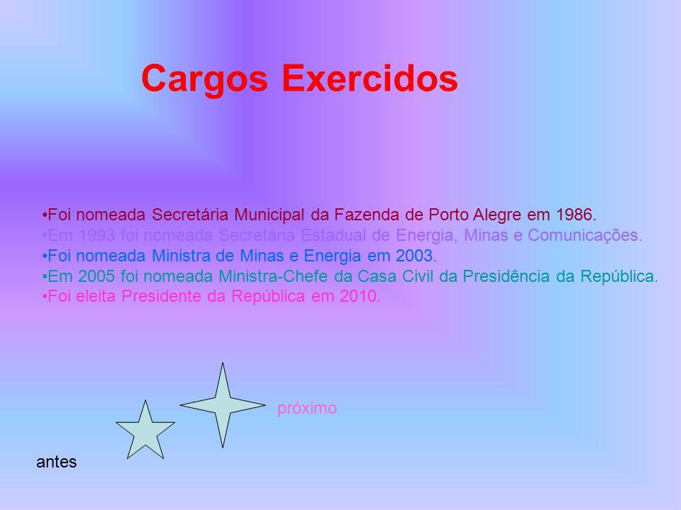 Cargos Exercidos Foi nomeada Secretária Municipal da Fazenda de Porto Alegre em 1986. Em 1993 foi nomeada Secretária Estadual de Energia, Minas e Comu