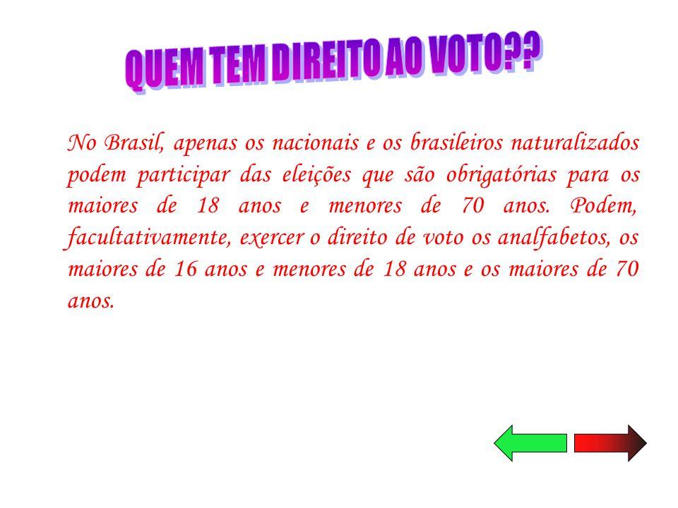 No Brasil, apenas os nacionais e os brasileiros naturalizados podem participar das eleições que são obrigatórias para os maiores de 18 anos e menores