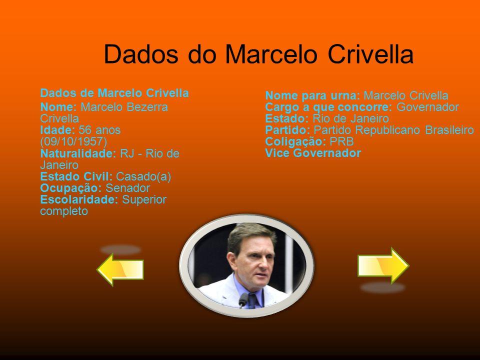 Dados do Marcelo Crivella Dados de Marcelo Crivella Nome: Marcelo Bezerra Crivella Idade: 56 anos (09/10/1957) Naturalidade: RJ - Rio de Janeiro Estad