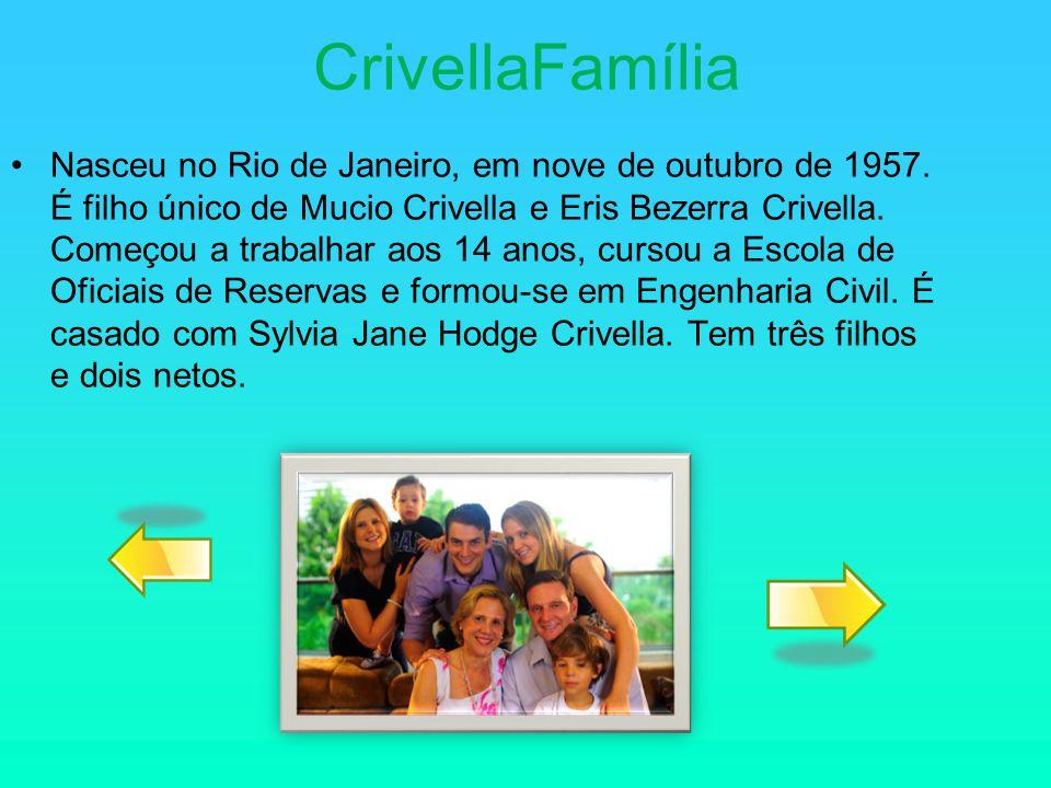CrivellaFamília Nasceu no Rio de Janeiro, em nove de outubro de 1957. É filho único de Mucio Crivella e Eris Bezerra Crivella. Começou a trabalhar aos