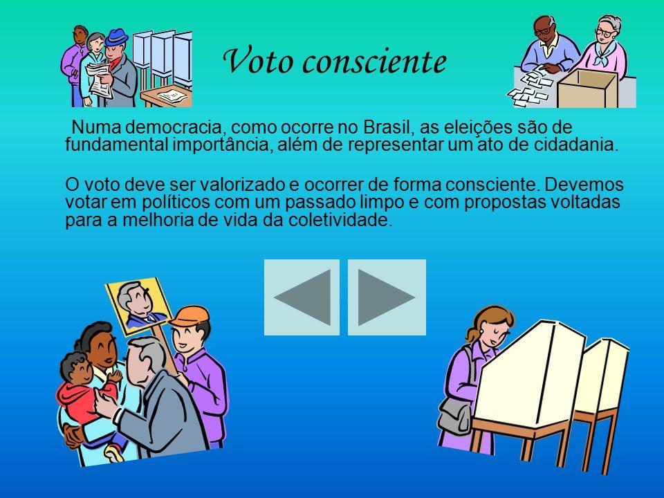 Voto consciente Numa democracia, como ocorre no Brasil, as eleições são de fundamental importância, além de representar um ato de cidadania. O voto de