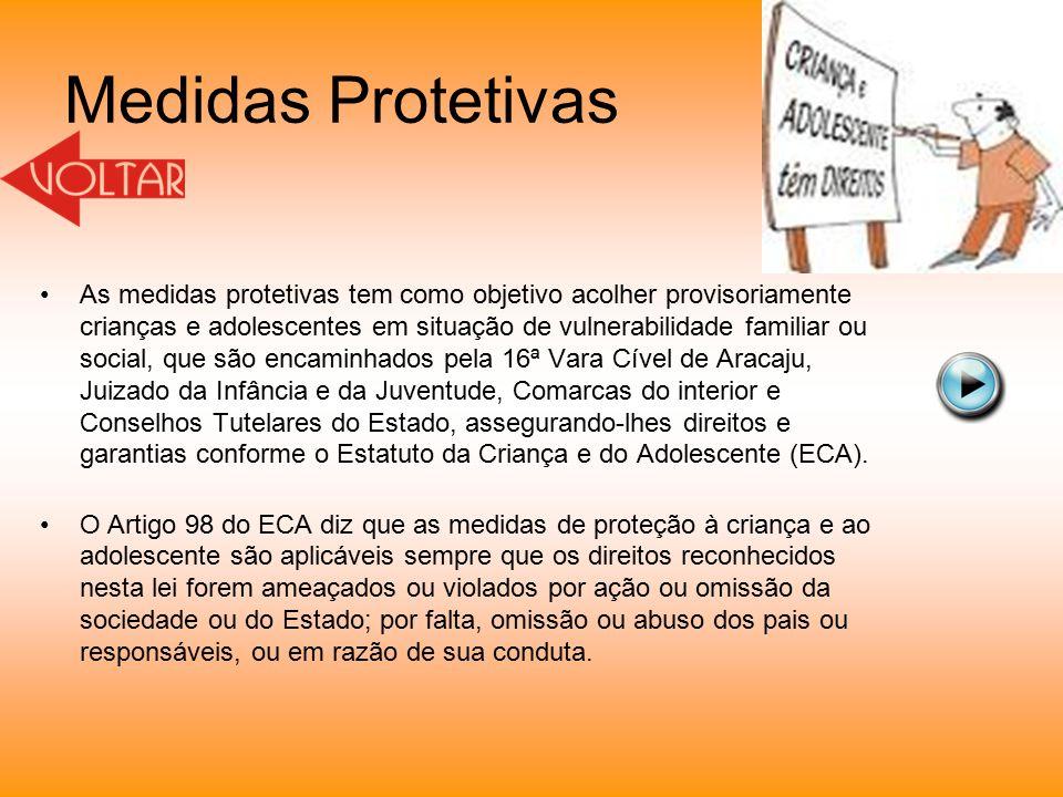 Medidas Protetivas As medidas protetivas tem como objetivo acolher provisoriamente crianças e adolescentes em situação de vulnerabilidade familiar ou