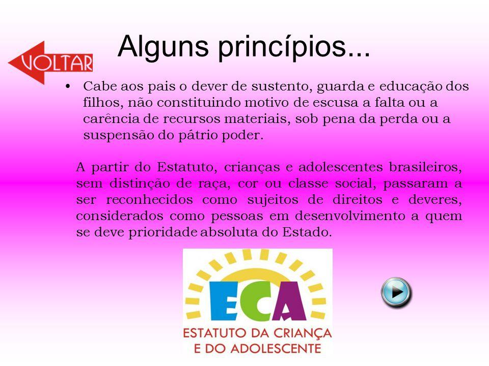 Alguns princípios... Cabe aos pais o dever de sustento, guarda e educação dos filhos, não constituindo motivo de escusa a falta ou a carência de recur