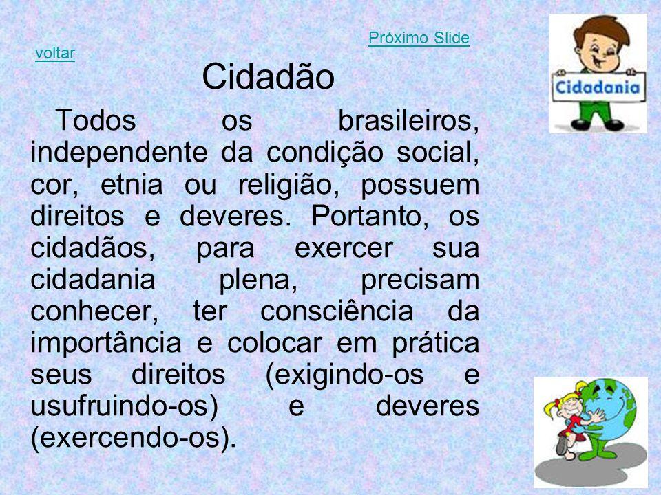 Cidadão Todos os brasileiros, independente da condição social, cor, etnia ou religião, possuem direitos e deveres. Portanto, os cidadãos, para exercer