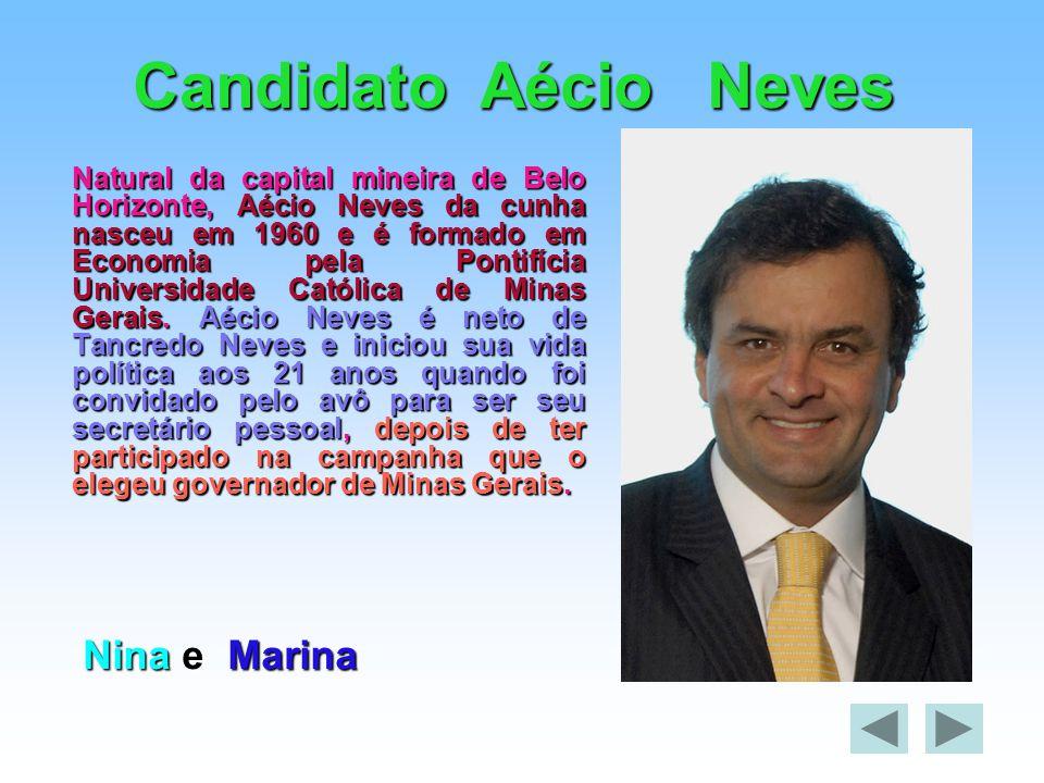 Candidato Aécio Neves Natural da capital mineira de Belo Horizonte, Aécio Neves da cunha nasceu em 1960 e é formado em Economia pela Pontifícia Univer