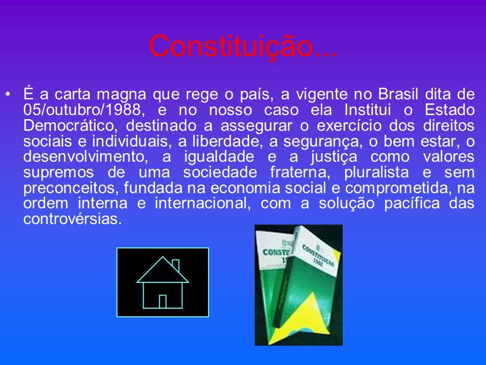 Constituição... É a carta magna que rege o país, a vigente no Brasil dita de 05/outubro/1988, e no nosso caso ela Institui o Estado Democrático, desti