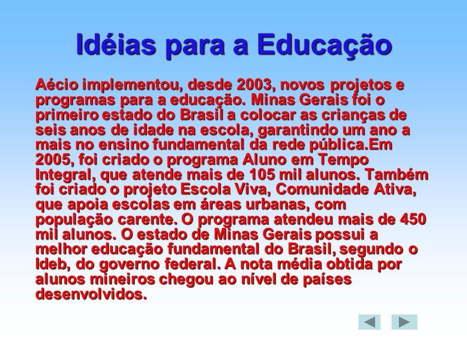 Idéias para a Educação Aécio implementou, desde 2003, novos projetos e programas para a educação. Minas Gerais foi o primeiro estado do Brasil a coloc