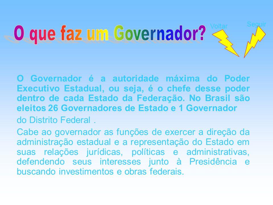 O Governador é a autoridade máxima do Poder Executivo Estadual, ou seja, é o chefe desse poder dentro de cada Estado da Federação. No Brasil são eleit