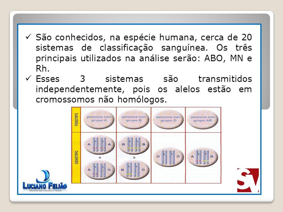 São conhecidos, na espécie humana, cerca de 20 sistemas de classificação sanguínea. Os três principais utilizados na análise serão: ABO, MN e Rh. Esse