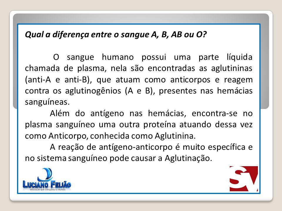 Qual a diferença entre o sangue A, B, AB ou O? O sangue humano possui uma parte líquida chamada de plasma, nela são encontradas as aglutininas (anti-A