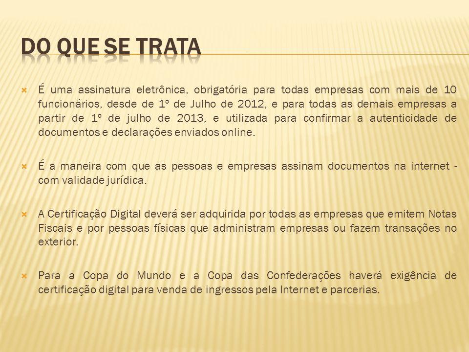 É uma assinatura eletrônica, obrigatória para todas empresas com mais de 10 funcionários, desde de 1º de Julho de 2012, e para todas as demais empre