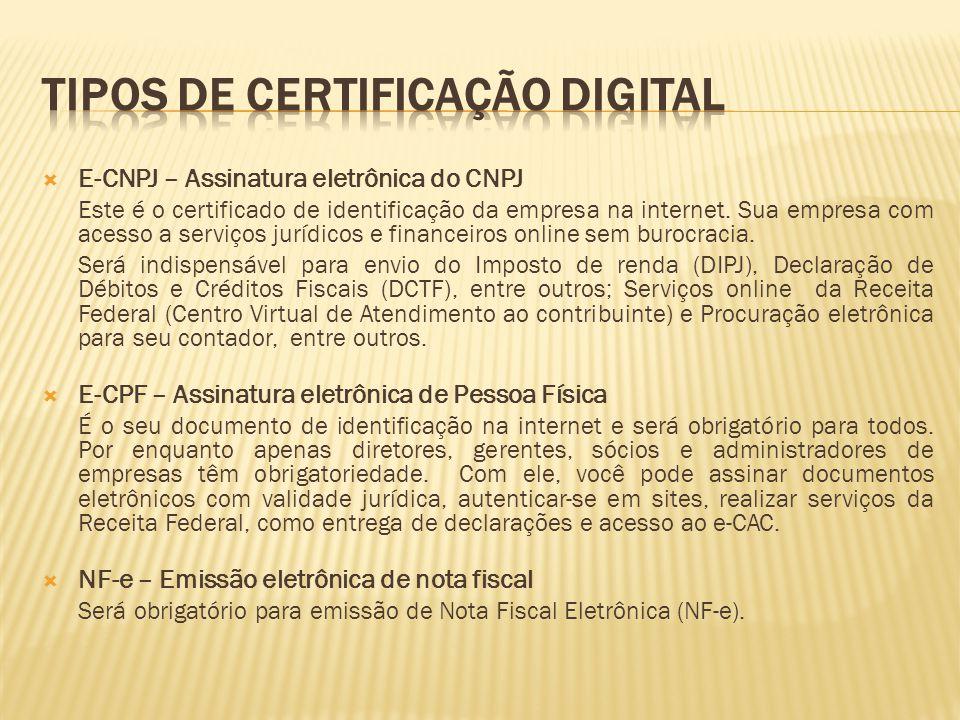 E-CNPJ – Assinatura eletrônica do CNPJ Este é o certificado de identificação da empresa na internet. Sua empresa com acesso a serviços jurídicos e f