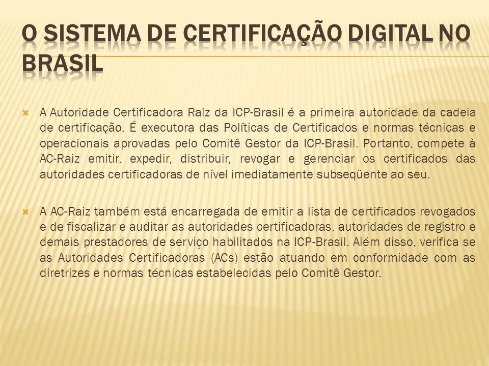  A Autoridade Certificadora Raiz da ICP-Brasil é a primeira autoridade da cadeia de certificação. É executora das Políticas de Certificados e normas