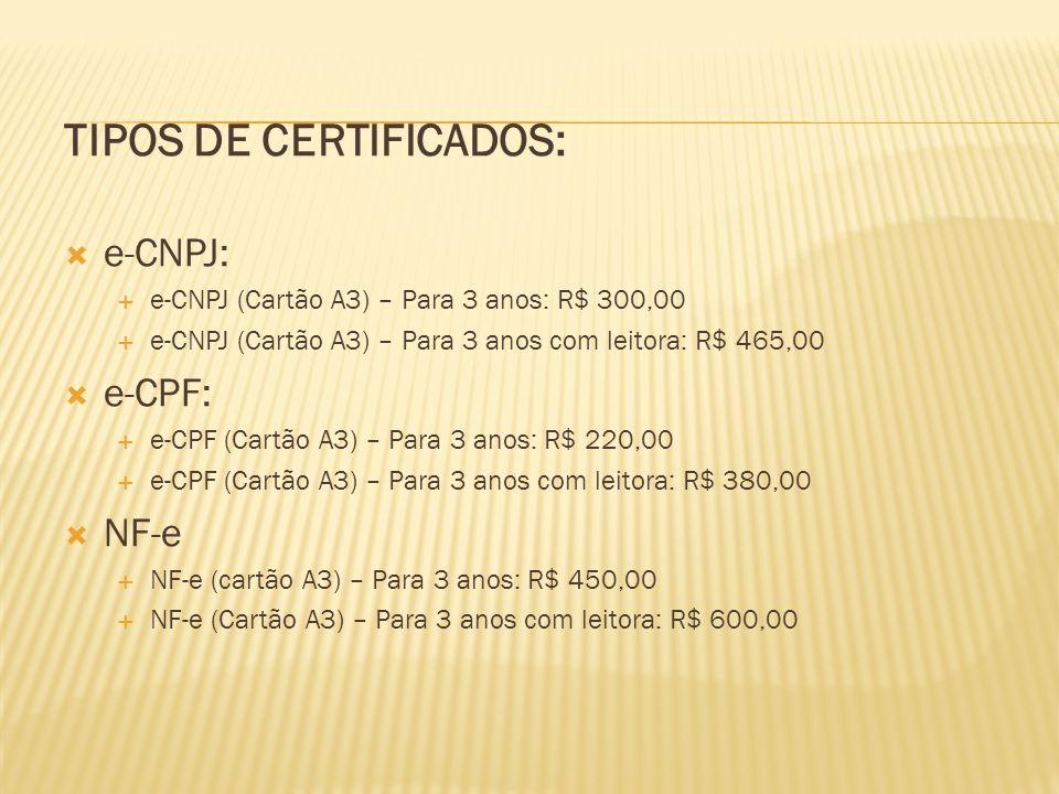 TIPOS DE CERTIFICADOS:  e-CNPJ:  e-CNPJ (Cartão A3) – Para 3 anos: R$ 300,00  e-CNPJ (Cartão A3) – Para 3 anos com leitora: R$ 465,00  e-CPF:  e-