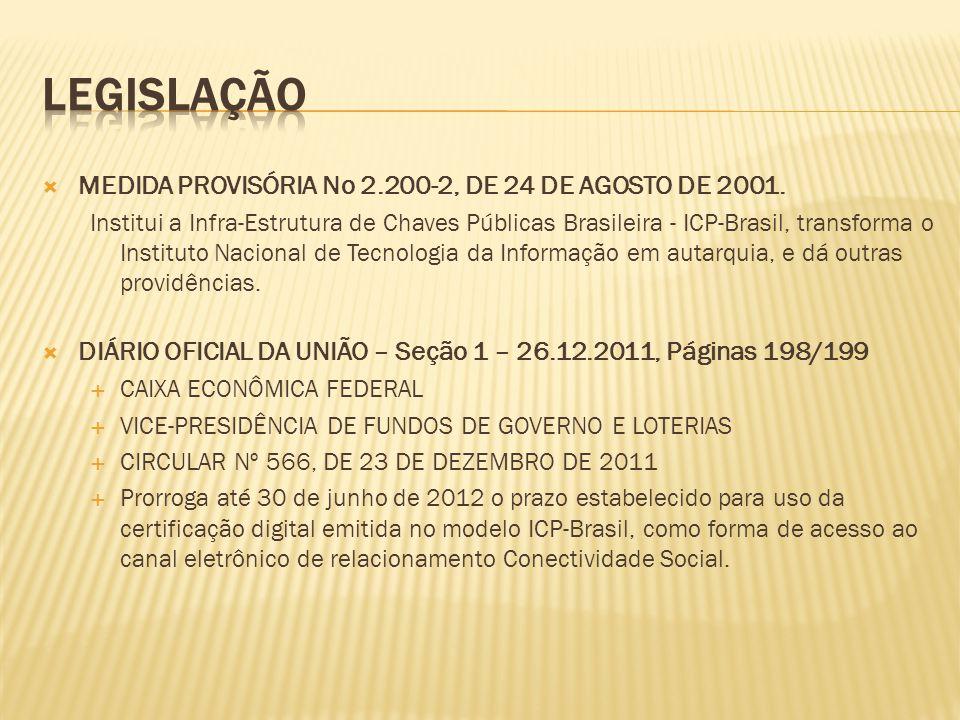  MEDIDA PROVISÓRIA No 2.200-2, DE 24 DE AGOSTO DE 2001. Institui a Infra-Estrutura de Chaves Públicas Brasileira - ICP-Brasil, transforma o Instituto