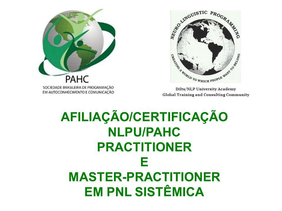 AFILIAÇÃO/CERTIFICAÇÃO NLPU/PAHC PRACTITIONER E MASTER-PRACTITIONER EM PNL SISTÊMICA