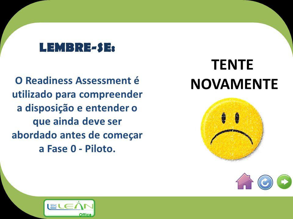 TENTE NOVAMENTE LEMBRE-SE: O Readiness Assessment é utilizado para compreender a disposição e entender o que ainda deve ser abordado antes de começar