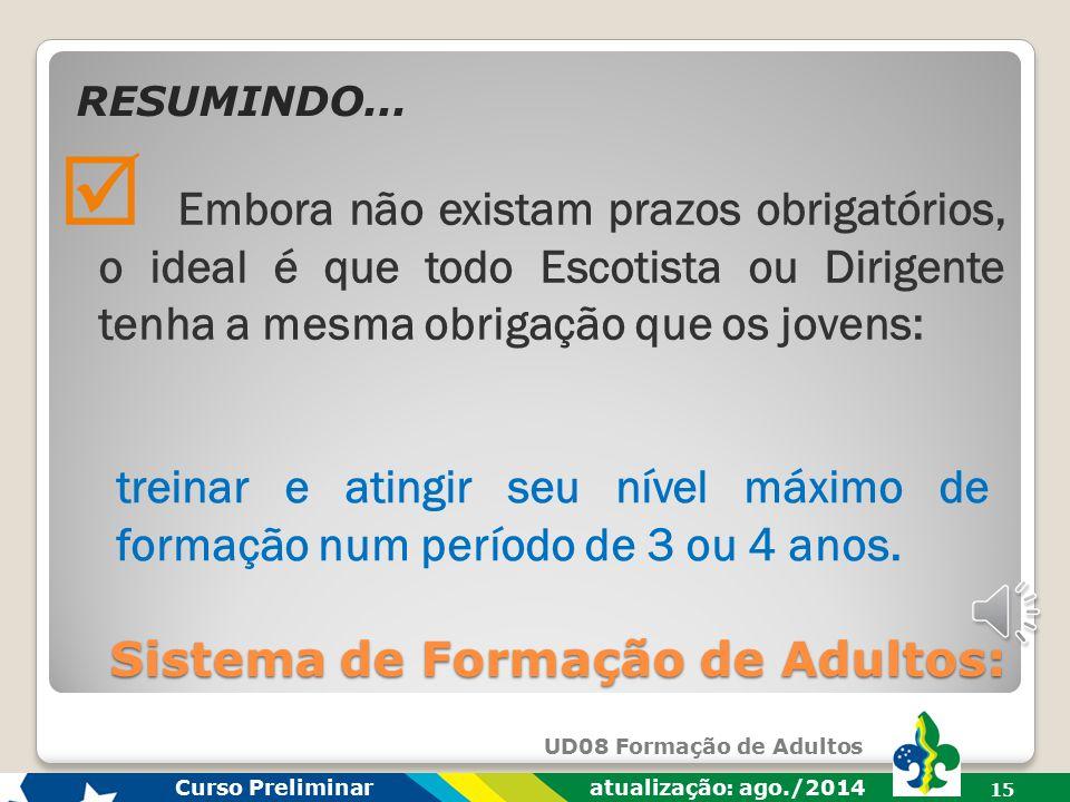 UD08 Formação de Adultos Curso Preliminar atualização: ago./2014 14 o sistema de formação: origem