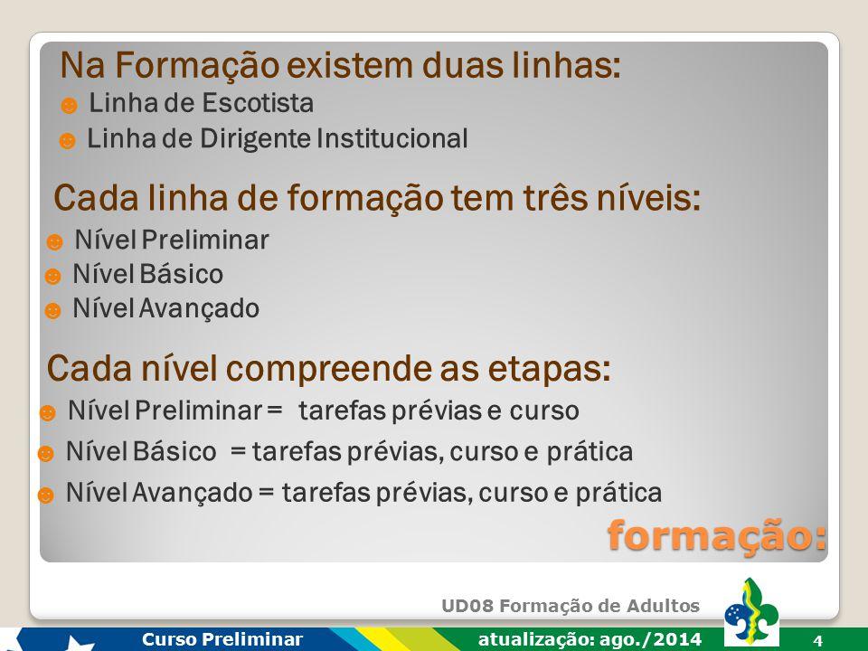 UD08 Formação de Adultos Curso Preliminar atualização: ago./2014 3 formação: É um processo permanente e contínuo, e também personalizado e flexível, q
